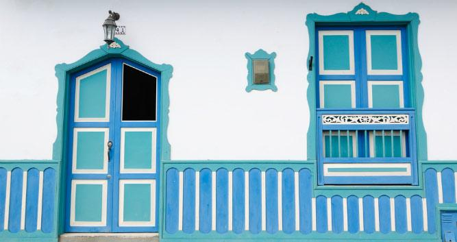 Colourful Colonial buildings, Colombia, South America