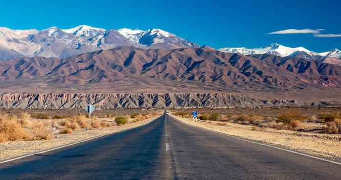 Long remote road to the Andes, Argentina, South America