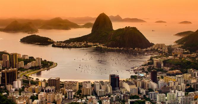 Sunset over Guanabara Bay, Rio, Brazil
