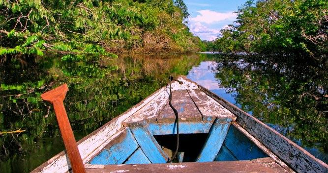 Small boat The Amazon, Bolivia, South America