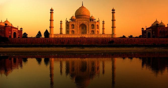 Burnt orange sunset at the Taj Mahal, Agra, India