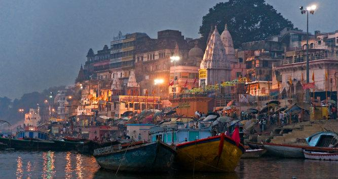 View of Varanasi from the River Ganges, India
